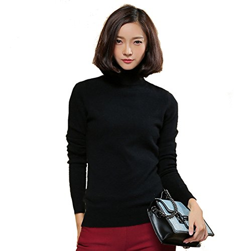 Black Cashmere Turtleneck Pullover (Panreddy Women's 100% Cashmere Slim Fit Turtleneck Sweater Black XL)