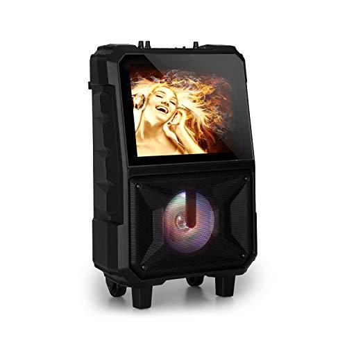 auna CenterStage 8 - mobile Karaoke-Lautsprecher Anlage, Karaoke-System, Bluetooth, 40 Watt RMS, USB, MicroSD-Slot, 14.1'' Farbdisplay, Funk-Mikrofon, rechargeable Lithium-Akku, schwarz