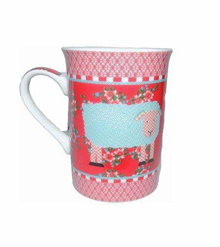 MUG, tasse céramique rouge et blanche 10cm motif: mouton texte: bêê bêê