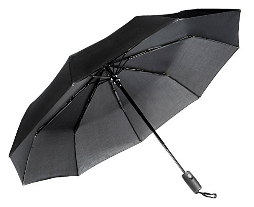 Aukelly Paraguas Negro de Viaje Plegable con Apertura y Cierre Automático Antiviento