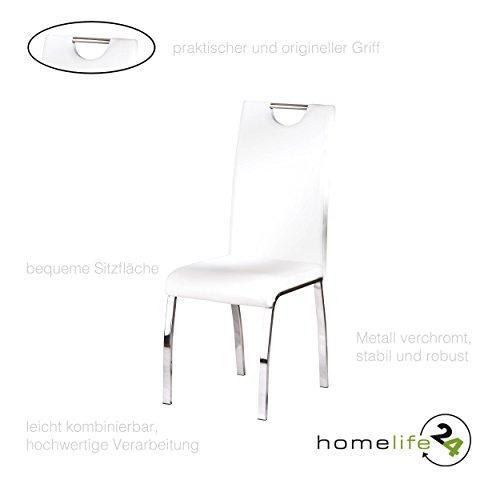 Sehr moderne Stühle 2er Set Stuhl design für Ihr Esszimmer oder Wohnzimmer Flur Metall verchromt weiß (Küche Stühle-set Von Zwei)