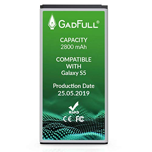 GadFull Batterie Compatible avec Samsung Galaxy S5 | Correspond à l'EB-BG900BBE EB-BG900 | Lithium-Ionen-Batterie Compatible avec Galaxy S5 SM-G900F