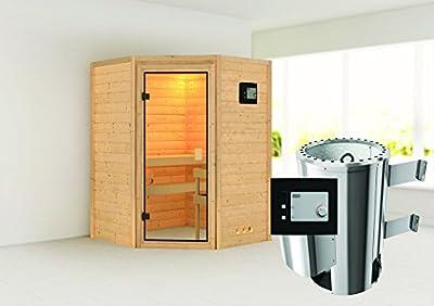 Alicja - Karibu Sauna Plug & Play inkl. 3,6 kW-Ofen - ohne Dachkranz - von Woodfeeling GmbH bei Du und dein Garten