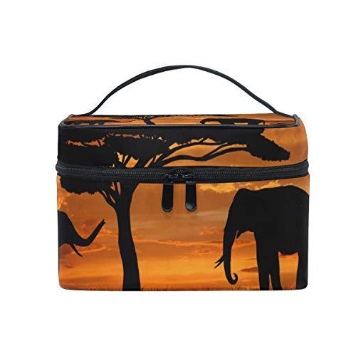 FANTAZIO bolsa de maquillaje barata africana Baobabs y elefantes en el atardecer...