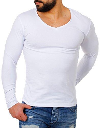 Young & Rich Herren Longsleeve tiefer V-Ausschnitt langarm Shirt einfarbig slimfit mit Stretchanteilen Uni Basic deep V-Neck Tee, Grösse:L;Farbe:Weiß (V-neck Stretch-baumwolle Tee)