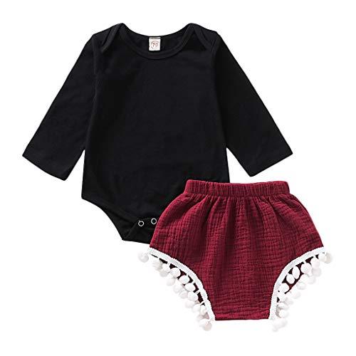 Julhold Kleinkind Kinder Baby Mädchen Einfache Langarm Baumwolle Strampler Bodysuit Quaste Shorts Outfits Sets 0-24 Monate (Petite-trenchcoat Schwarz)
