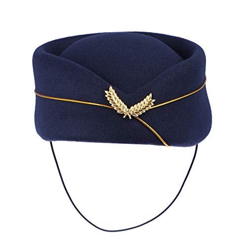 TENDYCOCO Frauen Air Stewardess Hut Woll Flugbegleiter Hut Stewardess Cap für Kostüm Cosplay Musical Performance - Größe M (blau Scuro)