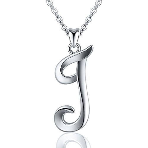 Silber Kette Mit Namen, Kette Mit Gravur Letter Alphabet Initialen Anhänger halsketten für Frauen Besondere Geschenke für Frauen Damen Mädchen, 45,7 cm ()