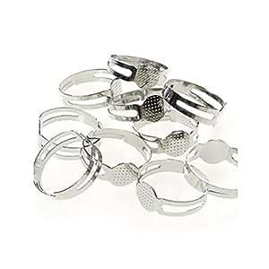 Supports de bagues réglables pour la création de bijoux fimo Tamis 8 mm - Gris / Lot de 50