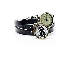 montre bracelet cuir 3 rangs cabochon bronze illustré vintage,chat, poisson