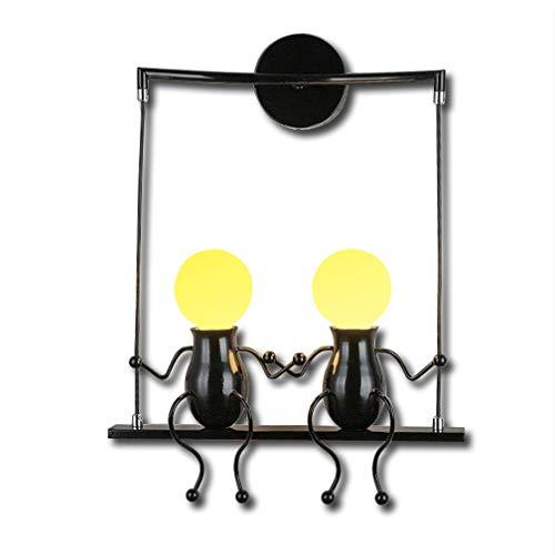 Addison Retro Innen Wandleuchte Vintage Industrial Kinder Wandlampe kinderzimmer küche Leuchte Schlafzimmer Lampe Nachttischlampe LED landhaus Wandbeleuchtung E27, 2-flammig Schwarz