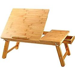Große Größe Laptop Bett tablett Nnewvante Bett tisch einstellbar Bambus faltbar Frühstück Rechts- und Linkshänder Bettschreibtisch kippbar mit Schublade bis zu 18 Zoll