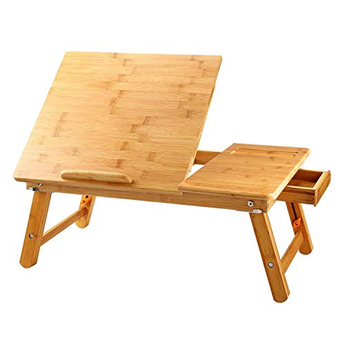 Large Bed Tray NNEWVANTE Adjustable Lap Desk Tilting Top Foldable Table Multi-tasking Stand Breakfast Serving Bamboo Supports up to 17in Computer/Tablet(Smooth Flat)