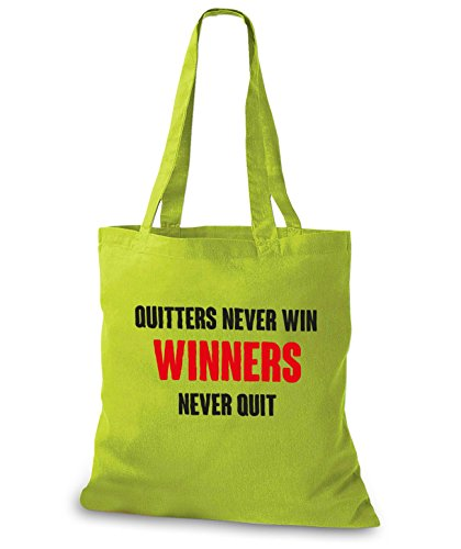 StyloBags Jutebeutel / Tasche Quitters never win, Winners never quit Kiwi