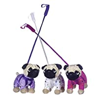 Girlie Paws PUG THE DOG PLUSH WEARING SPARKLY OUTFIT ON A STIFF LEAD ONE SENT AT RANDOM