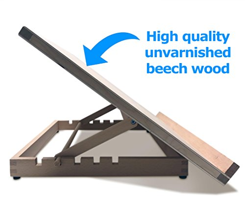 Premium A2 Wooden Art & Craft Work Station - A2 Adjustable Wooden Desk/Table Easel/Drawing Board - by Pablo - Ideal for Sketching, Drawing & Planning - Made from Beechwood - 5 Different Angles