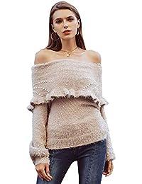 04b689177be2 Terryfy Damen Pullover Elegant Volant Off Shoulder Trompetenärmel Sweater  Oberteil mit Perlen Beige