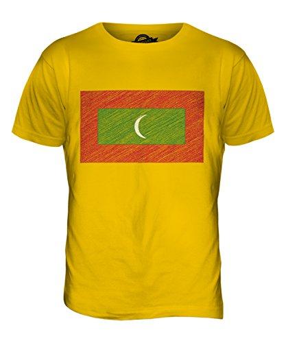 CandyMix Malediven Kritzelte Flagge Herren T Shirt Dunkelgelb