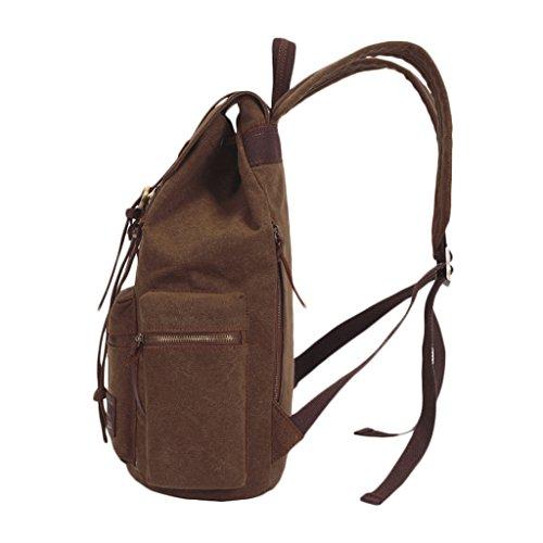 FakeFace Neu Rucksack Schultasche Retro Schulrucksack Damen Herren Backpack Daypacks Multifunktionsrucksack für Schul Studenten Sport Outdoor Reisen Kaffe