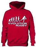 Print4U Evolution de Rugby Enfants/garçons Filles Sweat à Capuche Âge 5-13 - Rouge - (86 cm Poitrine)/9-11 Ans