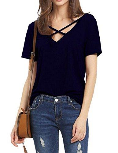 womens-summer-cross-front-tops-deep-v-neck-casual-teen-girls-tees-t-shirts