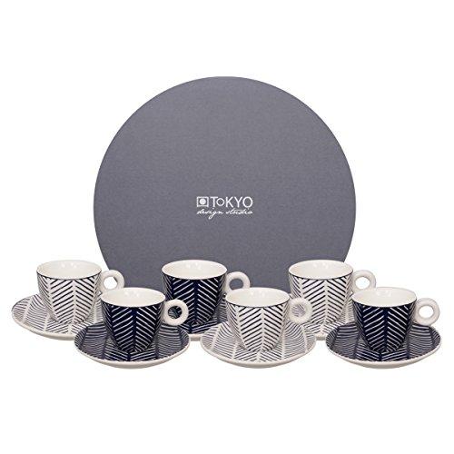 Tokyo Design Studio Le Bleu de Nîmes Herringbone Espressotassen und Untertassen. 12-teilig. Für 6 Personen. Aus hochwertigem Porzellan. In schöner Geschenkbox. Spülmaschinenfest. Mikrowellengeeignet.