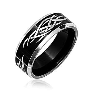 da5826075529 Bling Jewelry Grabado con láser Religiosa católica Cristo Negro Thorn Banda  Anillos de tungsteno para los Hombres 8mm Ajuste Confort
