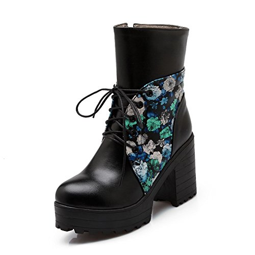 VogueZone009 Damen Weiches Material Gemischte Farbe Niedrig-Spitze Hoher Absatz Stiefel Blau