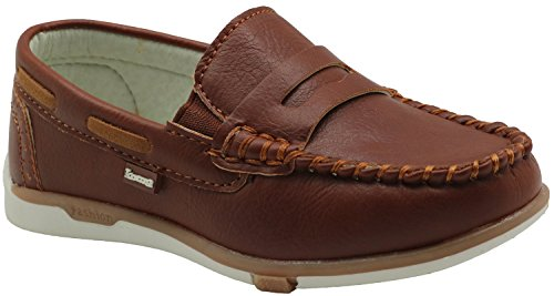 Tufanyu Boy's Boat Shoes Toddler Flats Slip On Little Kid Boots Soft PU Upper Elastic Band Genuine Leather Insole Arch Support No-slip ( Color : Brown , Size : 10.5 UK )