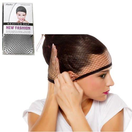 Takestop® set 2 pezzi rete retina elastica nero per capelli da indossare sotto parrucca cuffia traspirante donna accessori acconciature