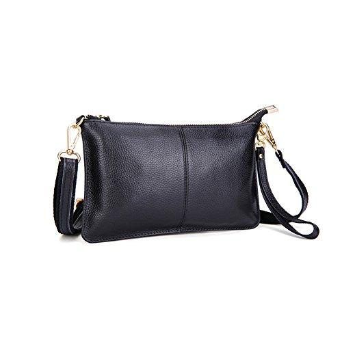 Mynos Fashion Genuine leather Crossbody Bag for Women Small Wristlet Clutch Purse Phone Wallets (Black)