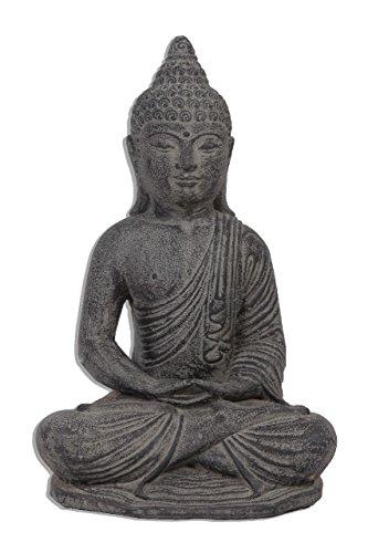 Ciffre 35cm Stein Buddha Antik Massiv Steinfigur Skulptur Feng Shui Garten Deko Wetterfest Lava Stein Vitakra Mudra aus Bali STB7