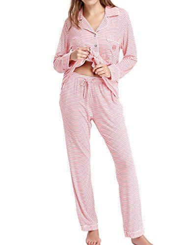 Damen Schlafanzüge Nachtwäsche langen Ärmeln Pyjama by Nora Twips, Farbe Rosa mit gestreift Gr. S (Damen Pyjama Baumwolle Pj)