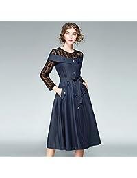 JIALELE Diario de la mujer saliendo de la calle giro elegante vestido Midi sólido, de