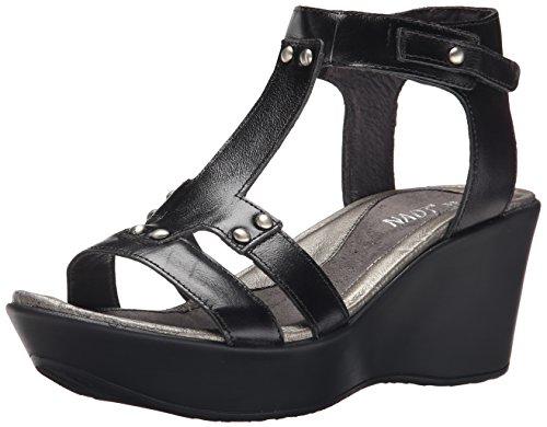 Womens Black Leather Flirt Naot Madras Sandals dwqOI1
