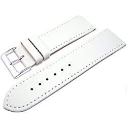 White Leather Watch Strap Band With A Stitched Edging And Nubuck Lining 24mm