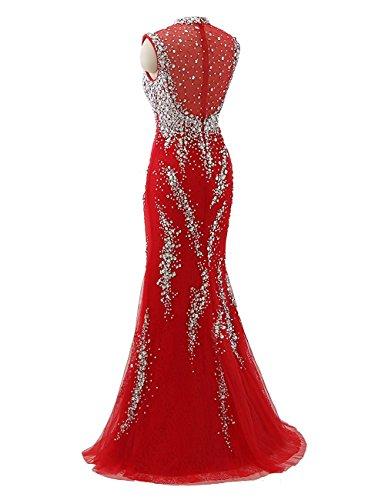 Izanoy Damen Lange Meerjungfrau Zurück Ballkleider Tüll Abendkleid Rot Zwei