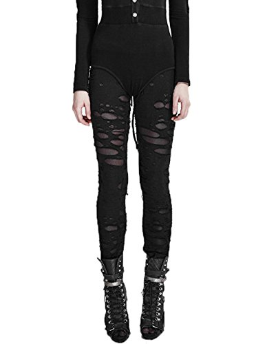 Punk Rave Frauen Sexy Hollow Broken Mesh Stitching - Halloween Leggings
