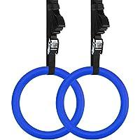REEHUT Anillas de Gimnasia, Anillas de Deporte con Correas Ajustables de 4,5m y Hebillas de Metal con Agarre Duro, Amplio y Antideslizante Ideales para Entrenamiento de Fuerza (2 Unidades, Azul)