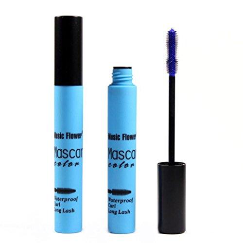 Mascara ,Moonuy La mode professionnelle colorée prolongée imperméable à l'eau long curling cils cils maquillage beauté (Bleu)