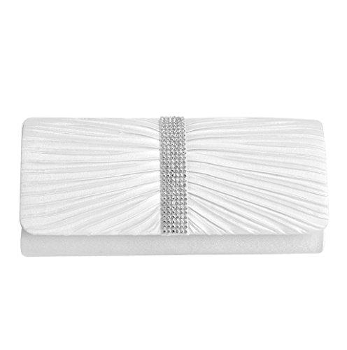 Dairyshop Donna Satin Diamante ha pieghettato il nero della borsa da sposa della borsa da sposa della frizione di sera (Nero) Bianco