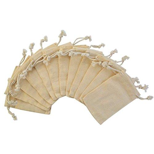 DIVISTAR 12 Stück 7 x 10 cm Doppelter Kordelzug Baumwolle Musselin Beutel Wiederverwendbare Beutel Teebeutel Souvenir Geschenktüten
