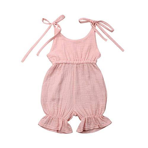 WANGSAURA Baby Mädchen Junge àrmellos Gekräuselte Einteiliger Strampler Kleinkind Spielanzug 0-24 Monate Prinzessin Neugeborenes Kleidung, Rosa Ohne Knopf, 60 für 0-6 Monaten -