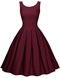 Miusol® Damen 1950er Vintage Abendkleid Elegant Rundhals Trägerkleid Retro Polka Dots Cocktailkleid Faltenrock Kleid Blau EU 36-46