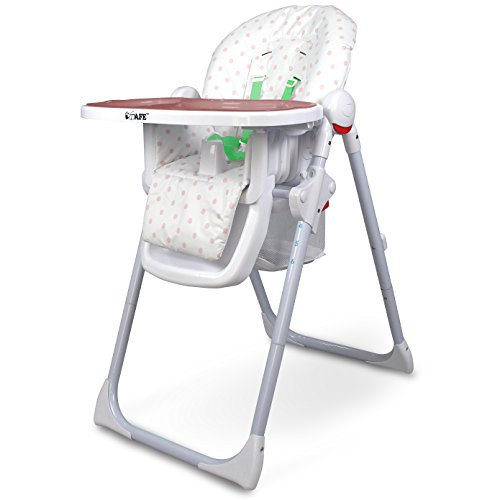 iSafe MAMA Highchair – Pepper Mint Recline Compact Padded Baby High Low Chair Complete With Double Tray & Storage Basket 41O7njCHpqL