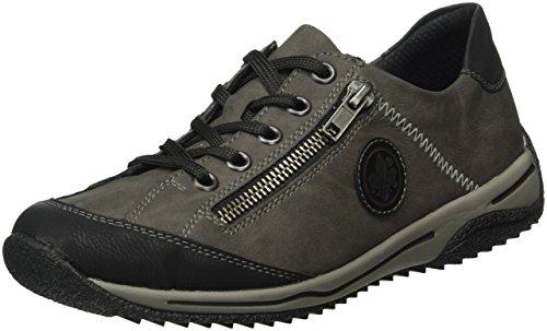 Rieker L5224 Damen Sneaker, Halbschuhe, Sportschuhe, Schnürer, Einlegesohle, mit Reißverschluss grau Kombi (schwarz/fumo/schwarz / 00), EU 37