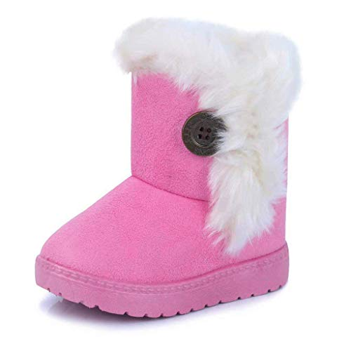 Gaatpot Zapatos Invierno Niña Niño Botas de Nieve Forradas Zapatillas Botón Botines Planas para Unisex Niños Rosa 29 EU/30 CN