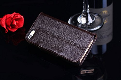 EKINHUI Case Cover Luxus echtes echtes Leder-Kasten-Mappen-horizontale Schlag-Folio-Standplatz-Fall-Abdeckung mit magnetischen Wölbung u. Karten-Schlitzen für IPhone 5 u. 5s u. SE ( Color : Wine red ) Brown
