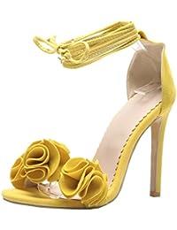 Easemax Damen Elegant Mehrfarbig Plateau High Heels Blumen Cut Out Schnürsenkel Sandalen Pink 41 EU