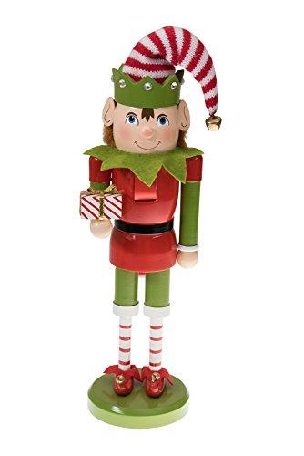 Clever Creations - Nussknacker-Weihnachtself mit Geschenk - perfekt für Jede Sammlung - Festliche Weihnachtsdeko - ideal für Regale und Tische - 100% Holz - rot-grünes Outfit - 35,6 cm
